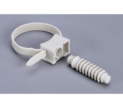 Стяжка кабельная с площадкой под дюбель КСП 7,5*165 (сер) (100 шт)