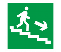 """Эвакуационный знак """"Выход по лестнице вниз"""" правосторонний Е 13 на фотолюминесцентной пленке"""