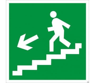 """Эвакуационный знак """"Выход по лестнице вниз"""" левосторонний Е 14 на самоклеющейся пленке"""