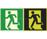 """Эвакуационный знак """"Выход здесь"""" левосторонний Е01-01 на фотолюминесцентной пленке"""